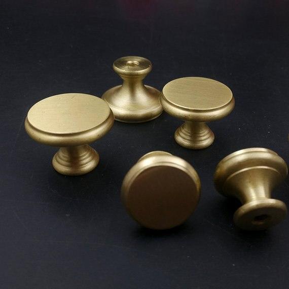 Brass Round Knobs Dresser Knobs Drawer Pulls Handles Gold Kitchen Cabinet Door Pull Knob Handle Modern Furniture Hardware in Cabinet Pulls from Home Improvement