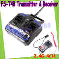 Wholesae 1pcs New 100% Original Flysky 2.4G FS-T4B 4CH Radio Model RC Transmitter & Receiver Helicopter Airplane
