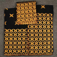 Black Gold Embroidery Swiss Voile Lace Fabric Swiss Cotton Fabrics Set For Lady Cotton Voile Lace Suits In Switzerland 30