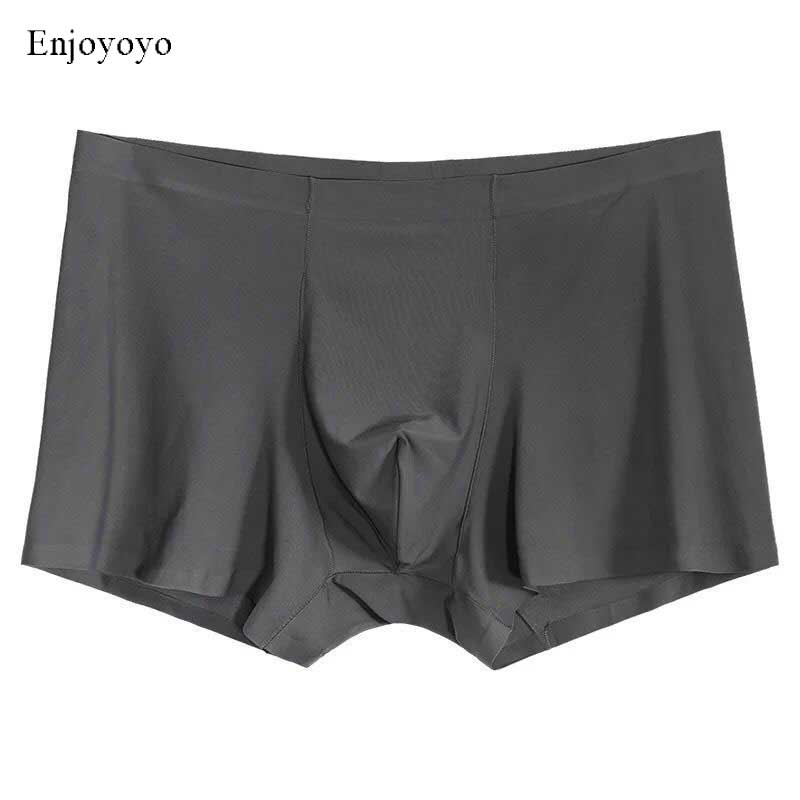 Seamless Men Boxers Luxury Silk Antibacterial Boxers Underwear Boxer Spandex 3D Crotch Boxer Nylon Underwear Shorts Slips XXXL