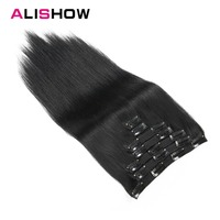 Alishow Clip In Human Hair Extensions Straight Remy Hair Full Head Set Human Hair Clip in Extensions 160G 8 Pieces/Set