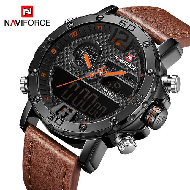Men Leather Sports Watches NAVIFORCE Men's Quartz LED Digital Clock Waterproof Military Wrist Watch