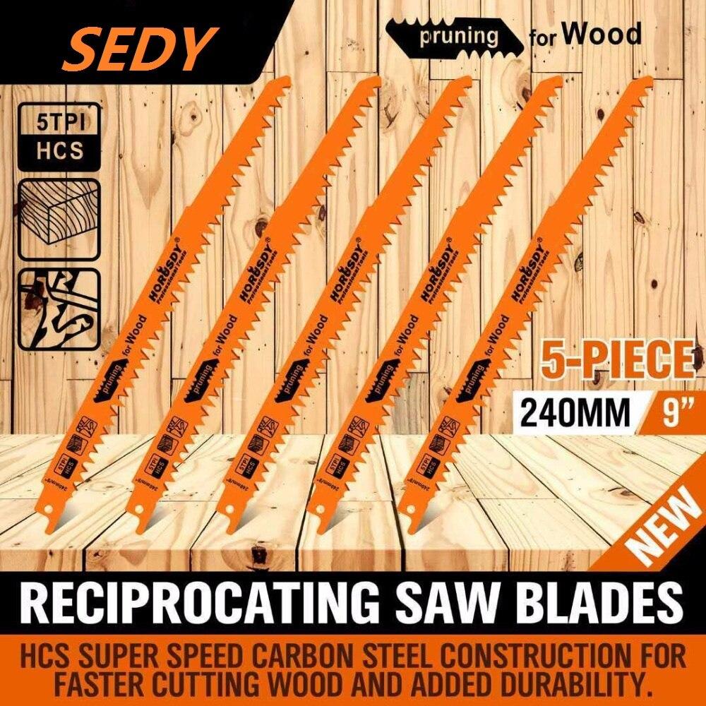 "SEDY 9"" Reciprocating Saw Blades / 5 Piece Set Electric Sawzall Hackzall Wood Pruning"