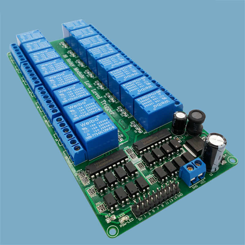 16 Kanaals Relais Module Laag Niveau Trigger Relais Bedieningspaneel Met Optocoupler DC5V DC12v Voor Plc Automation Apparatuur Controle
