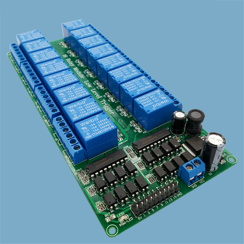 16 channel relay module low level trigger relay control panel with optocoupler DC5V FOR PLC automation equipment control fc 16 b 1 channel 24v relay module blue