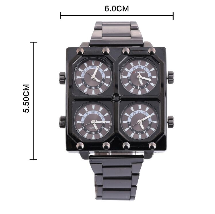 Watch Luxury Brand Man Fabric Srap Quartz-Watch Clock Male 4 Time Zones Square Sports Watches montre homme