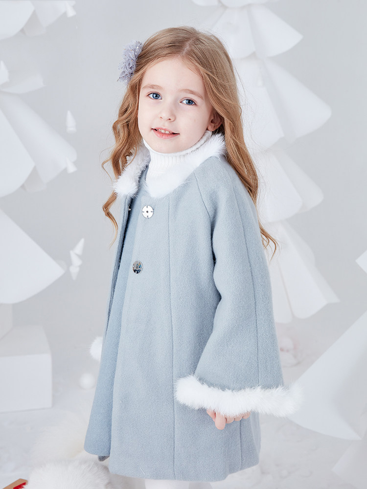 2018 Little Toddler Girls Cute Wool Coat Jacket Autumn Terry Cuff Winter Sweet Clothes for Kids Princess Age 5 6 7 8 9 Years Old sweet years sy 6128l 21