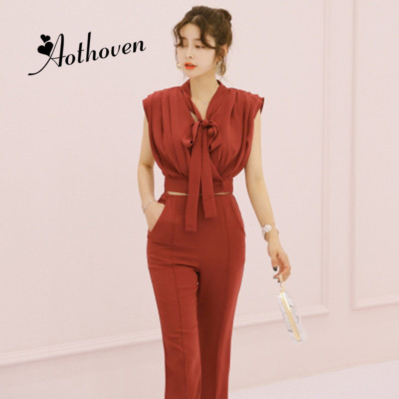 Summer Women Suit Bow V-neck Sleeveless Draped Short Top and Full Straight Pants 2 Piece Set Office Lady Sheath Two Piece Set