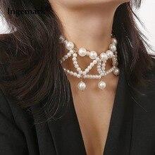 Ingemark Bohemian Multi Layered Imitation Pearl Choker Necklace Collar Statement Pearl Tassel Pendant Necklace Women Jewelry black velvet ribbon pearl pendant layered design necklace