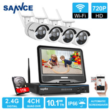 SANNCE 10.1inch LCD 4CH HD 720P Wireless NVR Wifi 1500TVL In/Outdoor IR CUT ip cameras Home Security Camera System with 1TB HDD