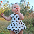 2017 Newborn Baby Girls Clothes 2pcs/Set(Sleeveless Dot Dress+Ruffle Short Pants) Cotton Infant Bebes Summer Clothing Outfits