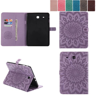 Retro Tablet Case Folding Flip Wallet PU Leather Stand Cover Case For Samsung Galaxy Tab E