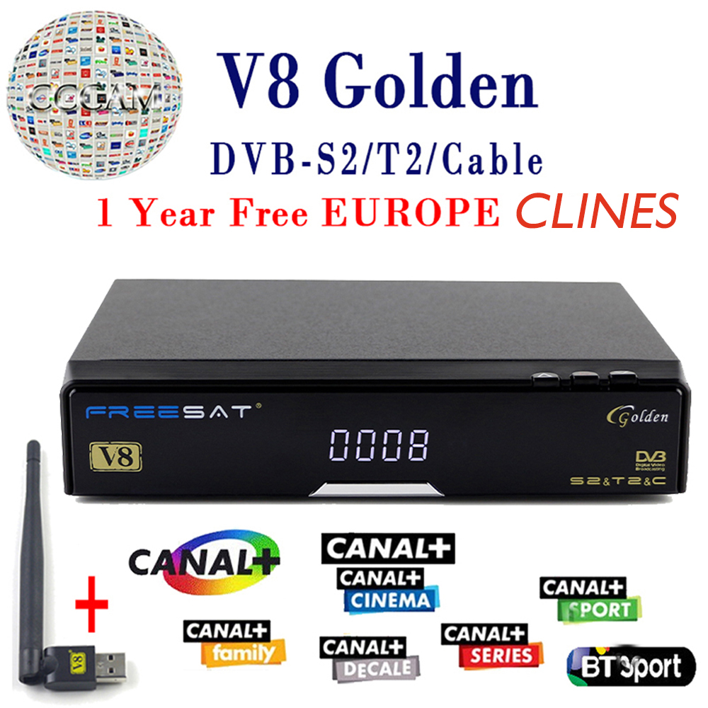 V8 Golden Satellite Receiver DVB -T2 DVB-S2 Full 1080P HD With 1 Year clines Europe Ccam Server +1PC USB Wifi Set free ship de it es channels dvb s s2 satellite fta lines 1 year cccam clines newcamd usb wifi satellite tv receiver for free shipping