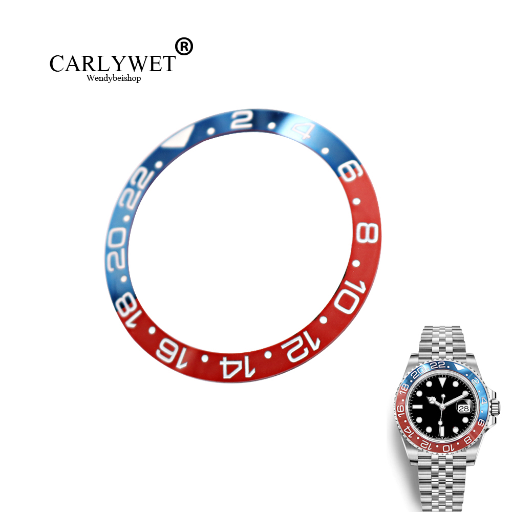 CARLYWET High Level Black/Blue Red Replacement Pure Ceramic Bezel Insert For Watch GMT-Master II 116710B Batman