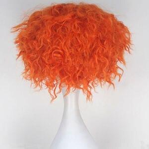 Image 4 - Alice im Wunderland 2 Mad Hatter Tarrant Hightopp Perücke Kurze Orange Wärme Beständig Synthetische Haar Perucas Cosplay Perücke + Perücke kappe