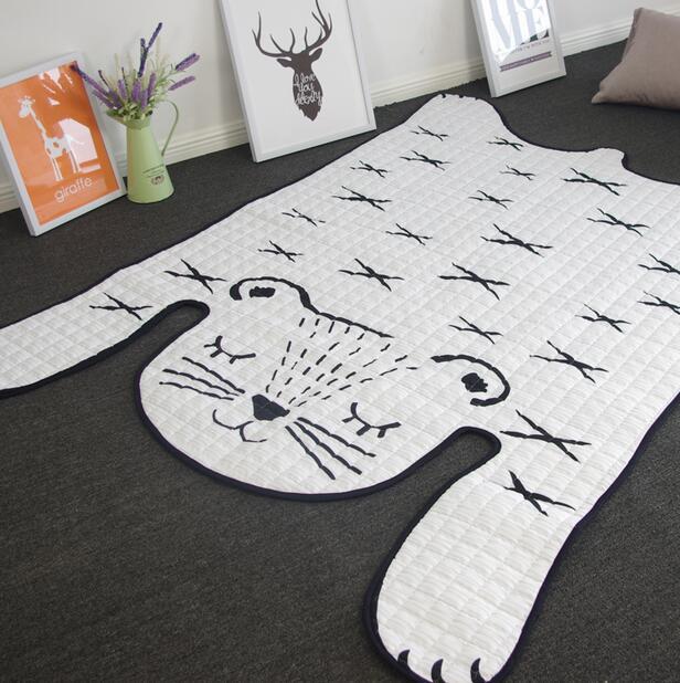 INS tapis de courtepointe tigre blanc antidérapant taille tissu Polyester tapis de type animal de bande dessinée tapis de ramper pour enfants enfants