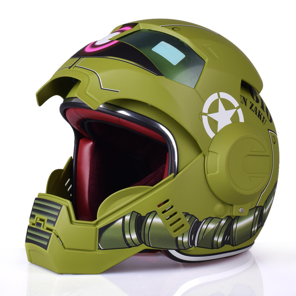 masei 610 zaku matt green atomic man motorcycle motorbike helmet moto casque casco motocicleta. Black Bedroom Furniture Sets. Home Design Ideas