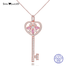 Shipei 100% 925 Sterling Silver Key Necklace Fine Jewelry Rose Gold Moissanite Key Pendant Necklace for Women Birthday Gift