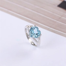 factory wholesale SGARIT brand natural gemstone fine jewelry 925 sterling silver blue topaz adjustable ring for   engagement hutang engagement ring 2 27 ct natural gemstone blue topaz solid 925 sterling silver fine fashion stone jewelry for women gift