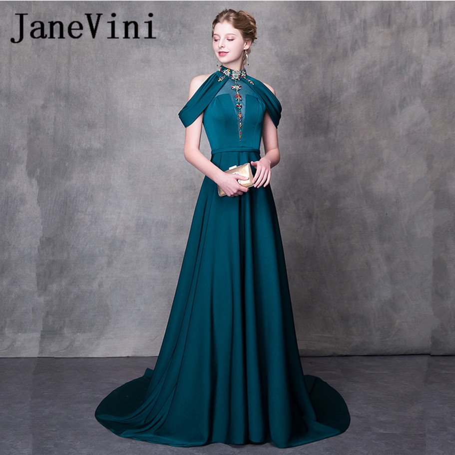 JaneVini Beaded Crystal Long   Bridesmaids     Dresses   2018 A-Line Satin High Neck Sexy Backless Sweep Train Women Pageant Prom Gowns