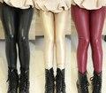2016 ropa para niños girls leggings sólido espesar fleece pu flaco baby girl leggings para niñas niños pantalones largos