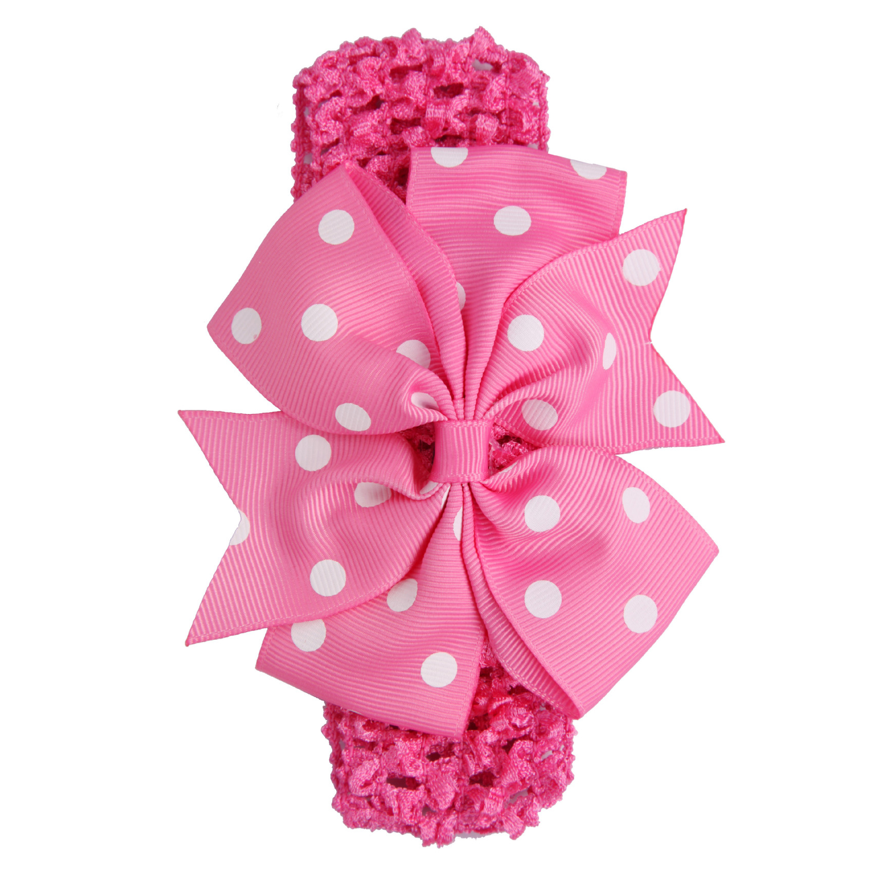 Лидер продаж для маленьких девочек Риб ласточкин хвост атласной лентой в горошек с бантом эластичный повязка на голову (красная Роза)