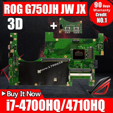 free shipping Original laptop motherboard 60N3HMB1200-C09 for ASUS G750JW REV2.1 with I7 CPU Intel Non-integrated