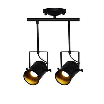 Retro Loft Vintage 3 Cabezas LED Pista Lámpara E27 Soporte Lámpara Kung 1/2/3/4 Luz Con Riel Lámpara De Techo Barra Ropa Reflector