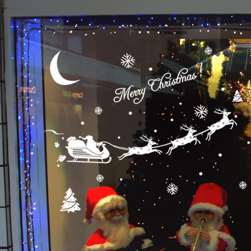 feliz navidad ciervos trineo de la nieve pegatinas de pared saln tienda de festival de navidad