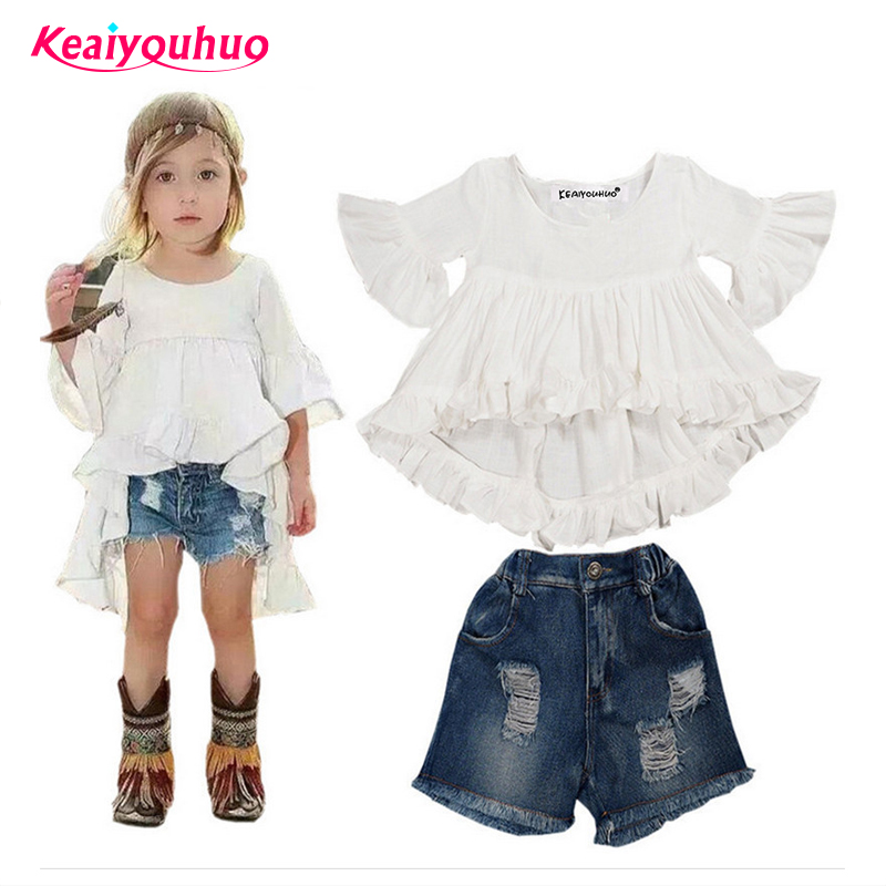 Children Clothing 2018 Summer Kids Girls Clothes Sets jeans+Dovetail t-shirt 2 pcs for 2-7 years Toddler Girls Clothing Sets