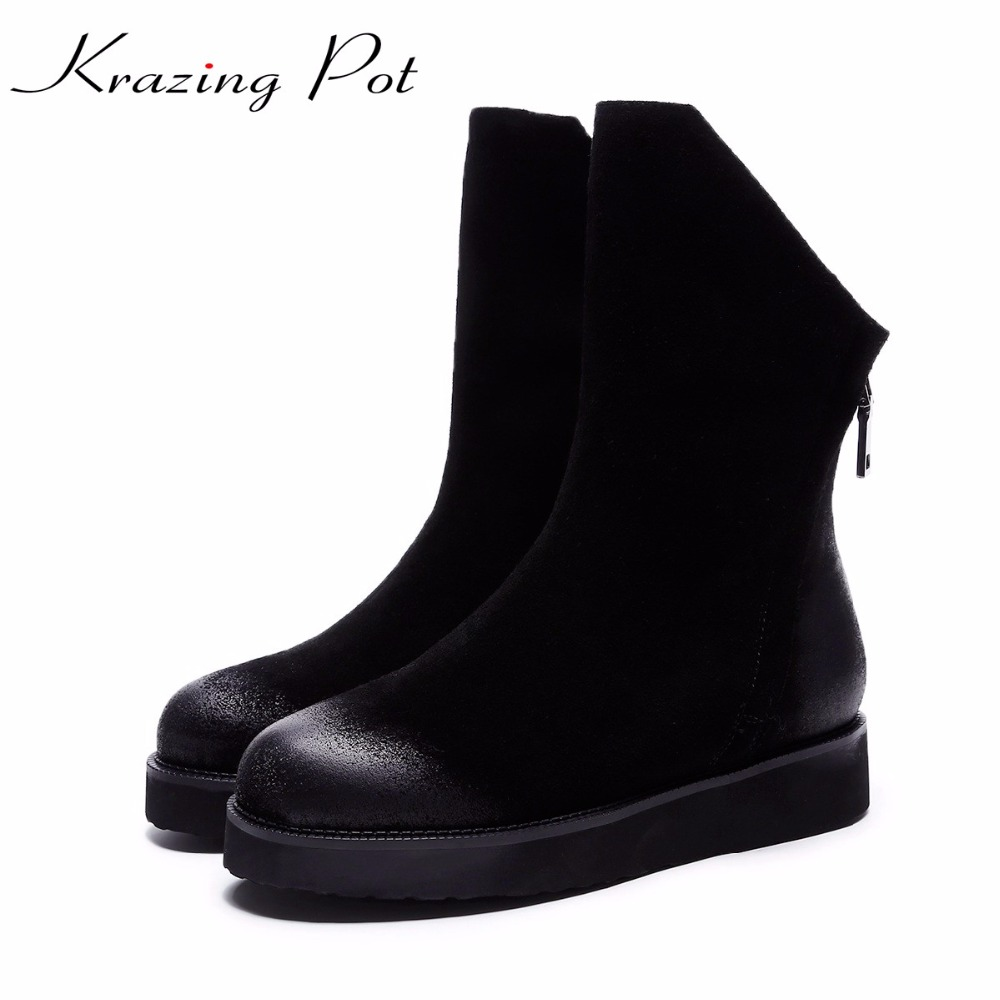 Krazing Pot 2018 cow suede mixed color round toe fashion winter boots runway keep warm wedges women leisure mid-calf boots L6f1 krazing pot flannel stretch boots winter keep warm wedges high heels leisure long legs beauty fashion over the knee boots l31
