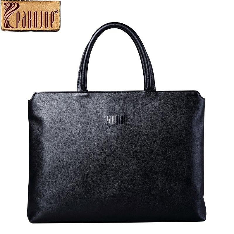 все цены на  Pabojoe 100% Genuine Leather Mens Business Briefcase Handbag for Laptop Travel Holder 14inch Computers  онлайн