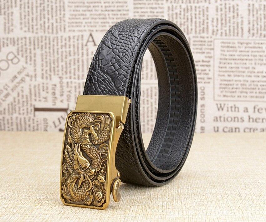 Fanshion Mens Belt Male Strap Pin Buckle Men Genuine Leather Male Belt Casual Hot Chinese Dragon Design Male Waist Strap Men's Belts