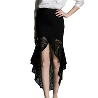 S-XXL 2016 Summer New Fashion Elegant Sexy Slim Lace Mermaid Ruffle Women OL Long Skirt Beach Party Skirt Plus Size Black