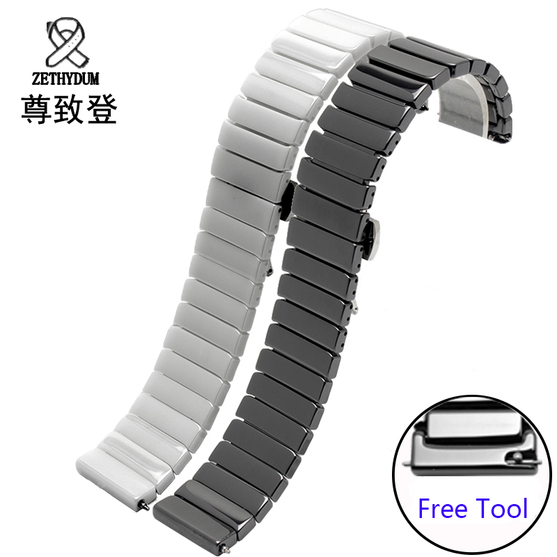 For Samsung gear S2 Classic black white ceramic bracelet quality watchband 20mm butterfly clasp