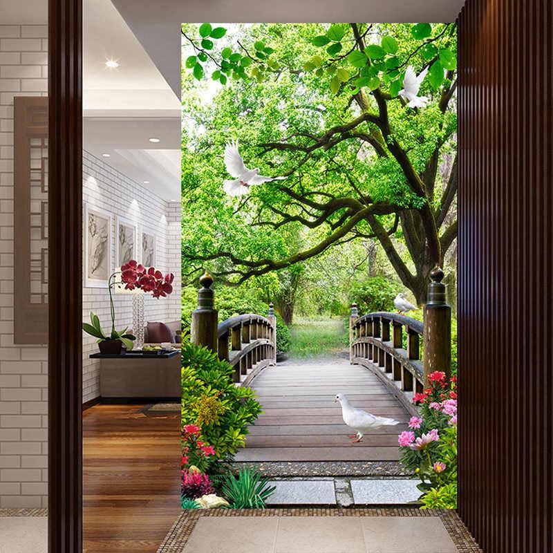 Papel pintado de foto moderno bosque 3D puente de madera paisaje murales tela de pared sala de estar Entrada de Hotel impermeable papeles de pared 3 D