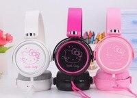 2017 New Cartoon Cute Hello Kitty Headphones Earphone Headset For Mobile Phone MP3 MP4 For Iphone