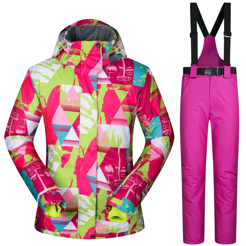все цены на New Arrival Ski Jacket Women Waterproof Sportwear Female Winter Ski Suit Top Hoodie Jacket Strap Pants Snow Jacket and Pants