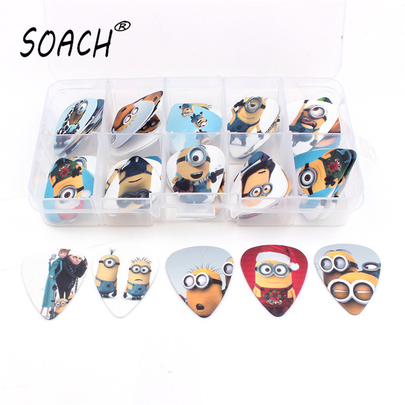 SOACH 50pcs 0.46 / .071 / 1.0mm Cetakan berkualiti tinggi Guitar picks Multi-picture mix + 10 grid Box Set Guitar Parts & Accessories