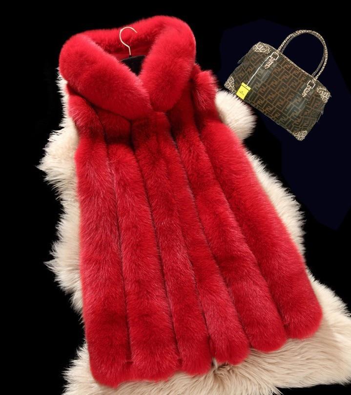 Capuche Fourrure Fausse Femmes Renard D'hiver Veste Dans Gilet blanc Manteau noir Et Longue À Automne Laine Rouge Le gris De fgPXw1