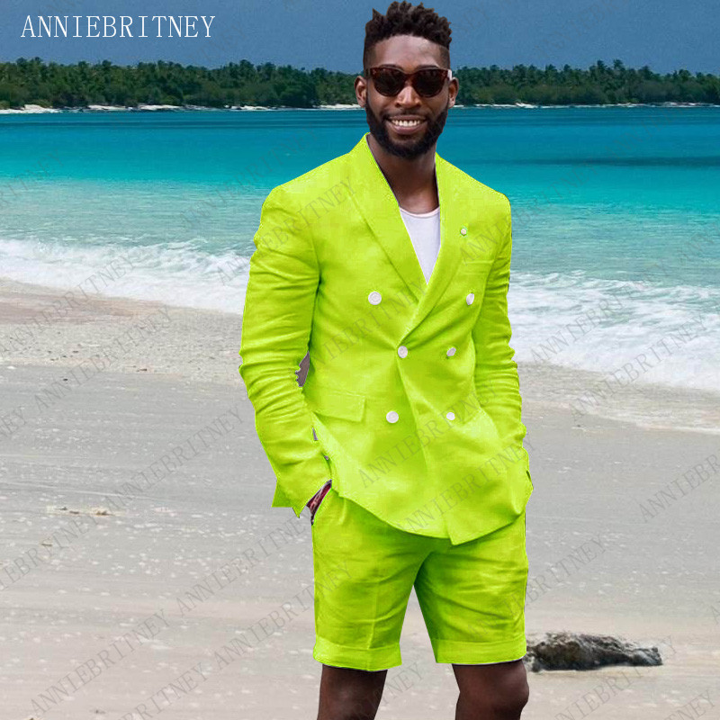 ANNIEBRITNEY Summer Mens Suits 2019 Linen Green Casual Blazer Custom Slim Fit Groom Tuxedos Jacket With Short Pants Set 2 Pieces