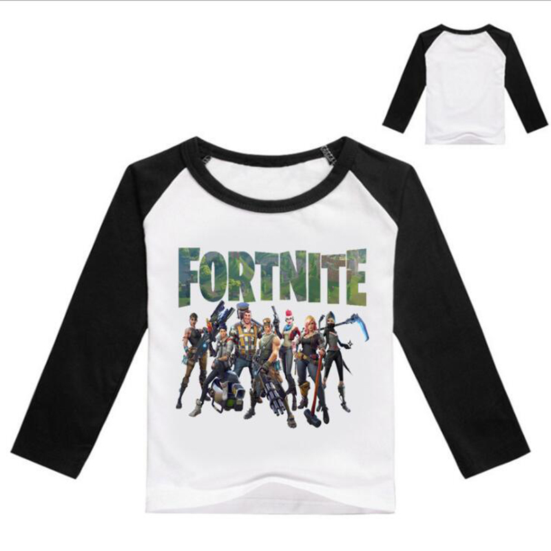 2018 Kids T Shirt Boys Girls 3-16T Long Sleeve T Shirt Game Fortnite Print Children Clothes T-shirt Spring Autumn Top T058