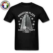 Custom Tops T Shirt NAKATOMI PLAZA CHRISTMAS PARTY Japanese Buildings Printed On Tshirts Men Fathers Day Sweater Cotton