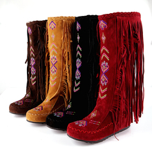 Big size 34-43 women boots fashion Embroidery flowers tassel boots Nubuck Leather Chinese Nation Style Slip-On Knee-High boots lsewilly women boots bohemia chinese nation style women fringe increasing heels bead short boots woman tassel ankle boots a002
