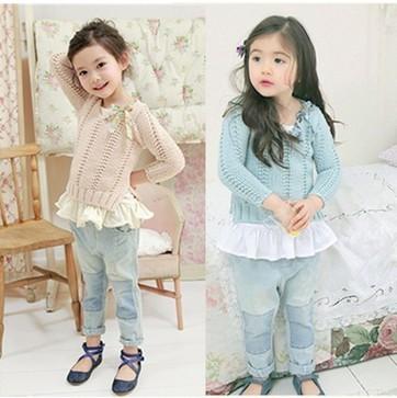 New Arrival 2013 frete grátis alta qualidade outono / inverno crianças camisola do bebê meninas encantadoras algodão tecelagem Sweater LQ419