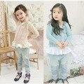Nueva llegada 2013 envío gratis alta calidad de otoño / invierno suéter de los niños del bebé muchachas encantadoras de algodón que teje suéter LQ419