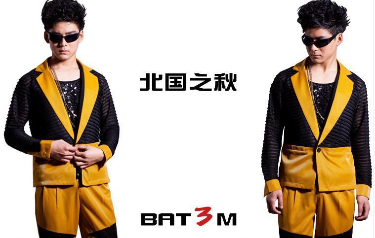 Geel Zwart Golf Punt Pak Koreaanse Custom Made Mannen 2 STUKS Suits Set (jas + broek) mannelijke Straat Mode Pak Blazer Jasje DJ Stage - 4