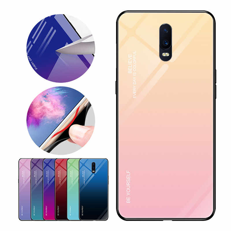 Tempered Glass Case For OPPO R17 Pro K1 R15X F11 Pro R19 Find X Gradient Color Cover For OPPO R17 F11 Pro Phone Cases Coque Capa