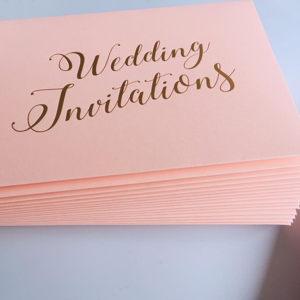 Printing Wedding Invitation Envelopes At Home: Pink Wedding Invitations Envelope With Gold Foil Printing