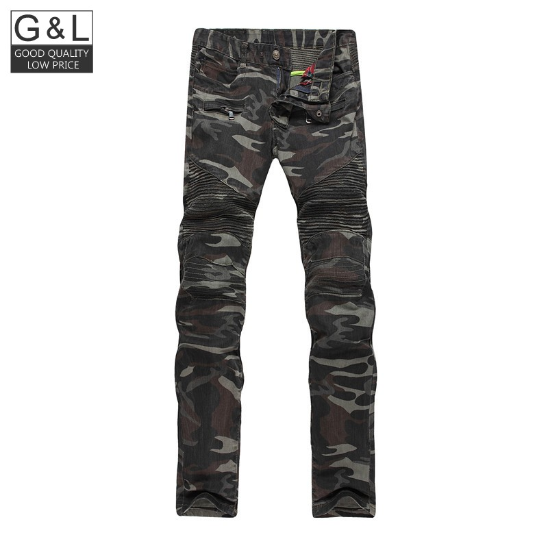 ФОТО 2016 New Mens Camouflage Jeans Motorcycle Camo Military Slim Fit Famous Designer Biker Jeans With Zippers Men Casual Jeans Men